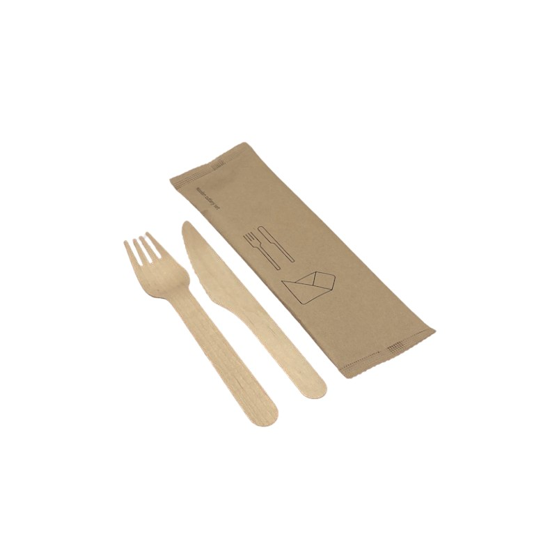 Wooden set fork-knife and towel