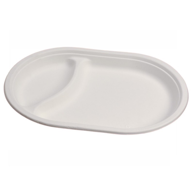Professional oval plate 2 compartments