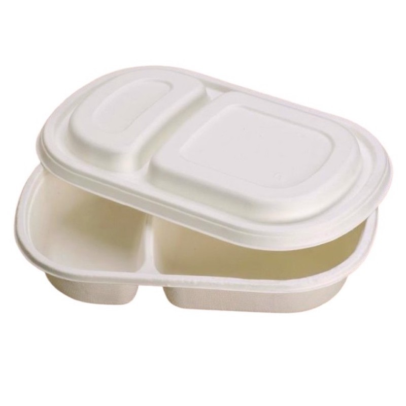 Food tray two compartments 900 ml with lid