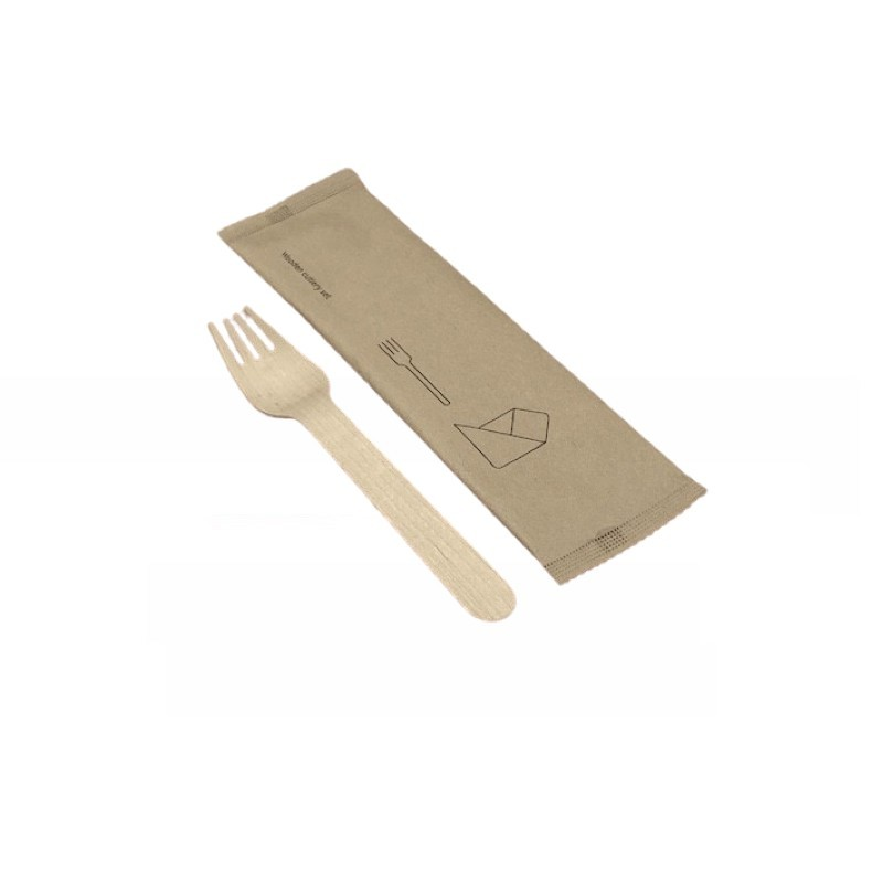 Wooden set fork and towel
