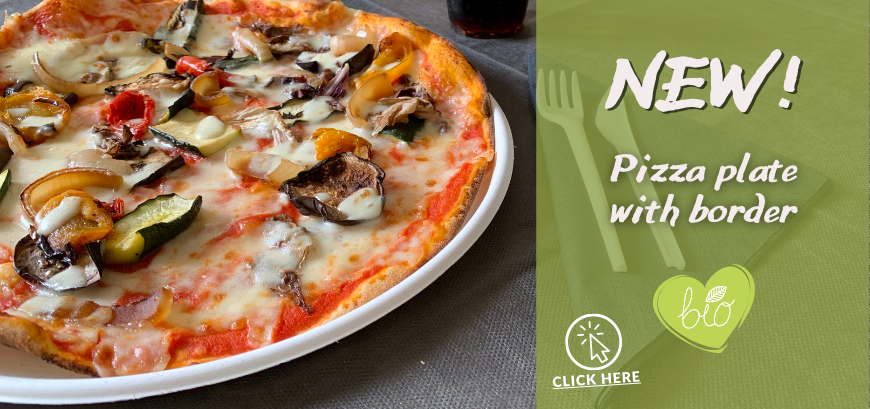 BIODEGRADABLE PIZZA PLATE WITH BORDER